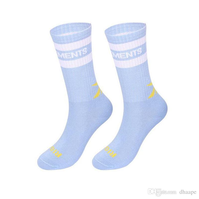 Wholesale New Vetements Men's Black Yellow Stockings Opening Fashion Men's Sports Sockings Letter Print In The Tube Cotton Socks