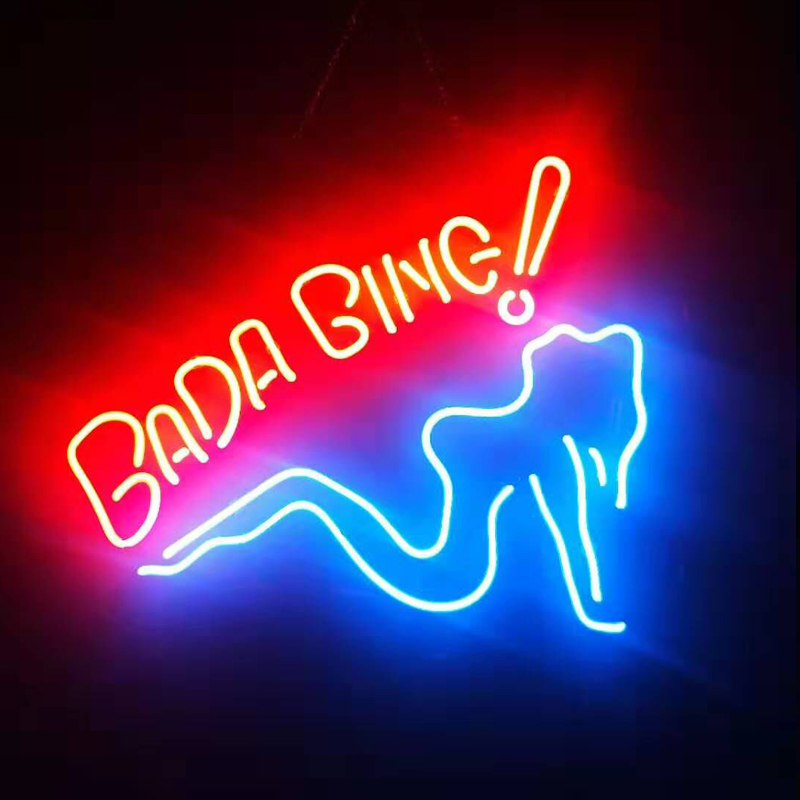 Bada Bing Girl Real Glass Beer Bar Pub Store Party Room Wall Windows Display Neon Signs 19x15 RONG Neon FTY