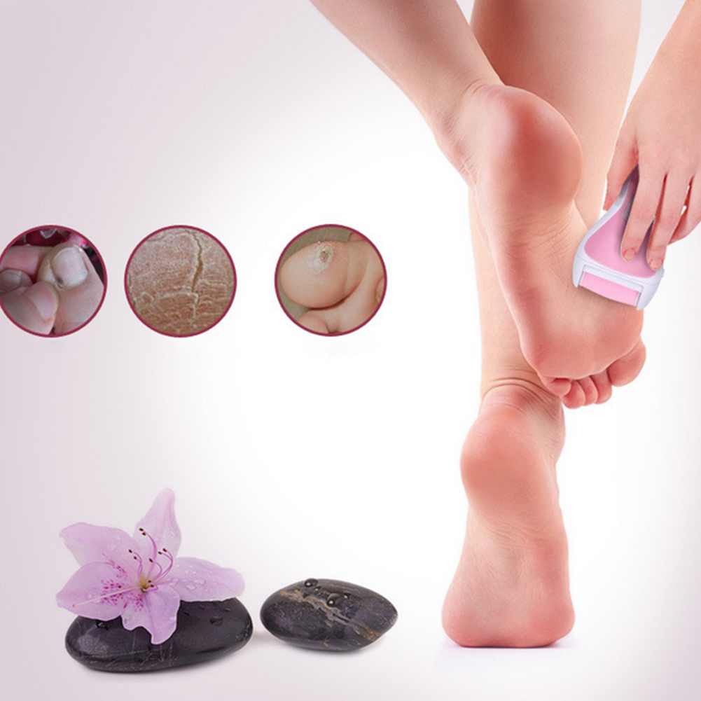 Electric Foot File Battery Built-In Usb Rechargeable Waterproof Pedicure Tools 3 Replacement Roller Included Professional Callus