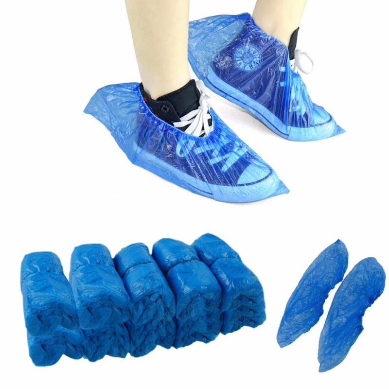100pcs Disposable Shoe Cover Plastic Cleaning Overshoe Boot Safety Protection