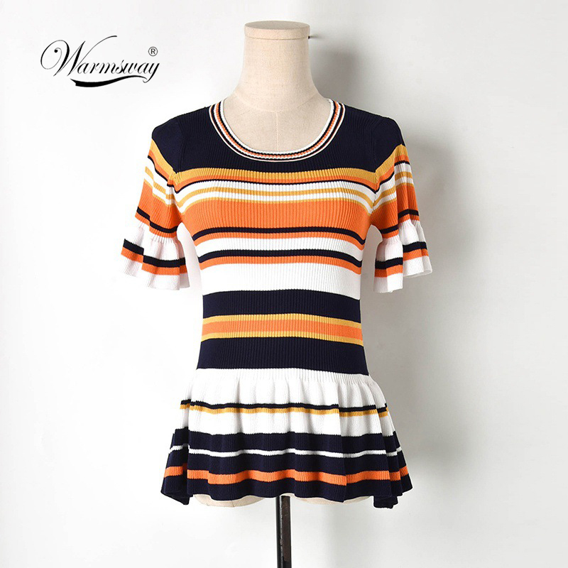 Wamsway ElegantShort sleeve women blouse shirt summer Ruffle peplum blouse ladies tops High waist striped blouse female B-118