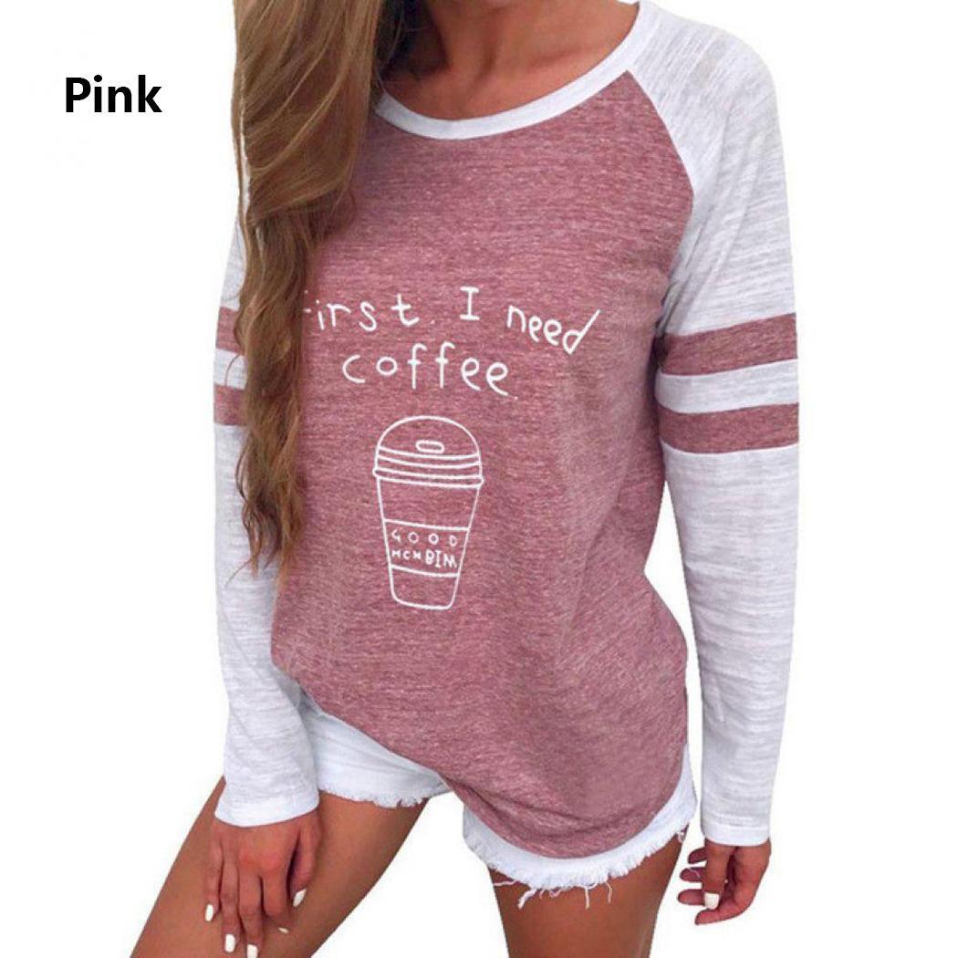 Sudadera de moda para mujer Cuello redondo Manga larga Patchwork Camiseta estampada Nuevas camisetas de cuello redondo