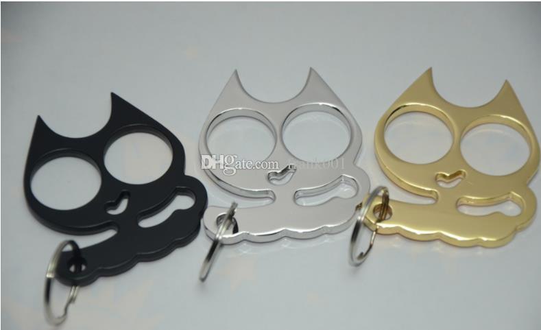 Mini Iron Cat Head Self Defense Keychain Cat Head Double Finger