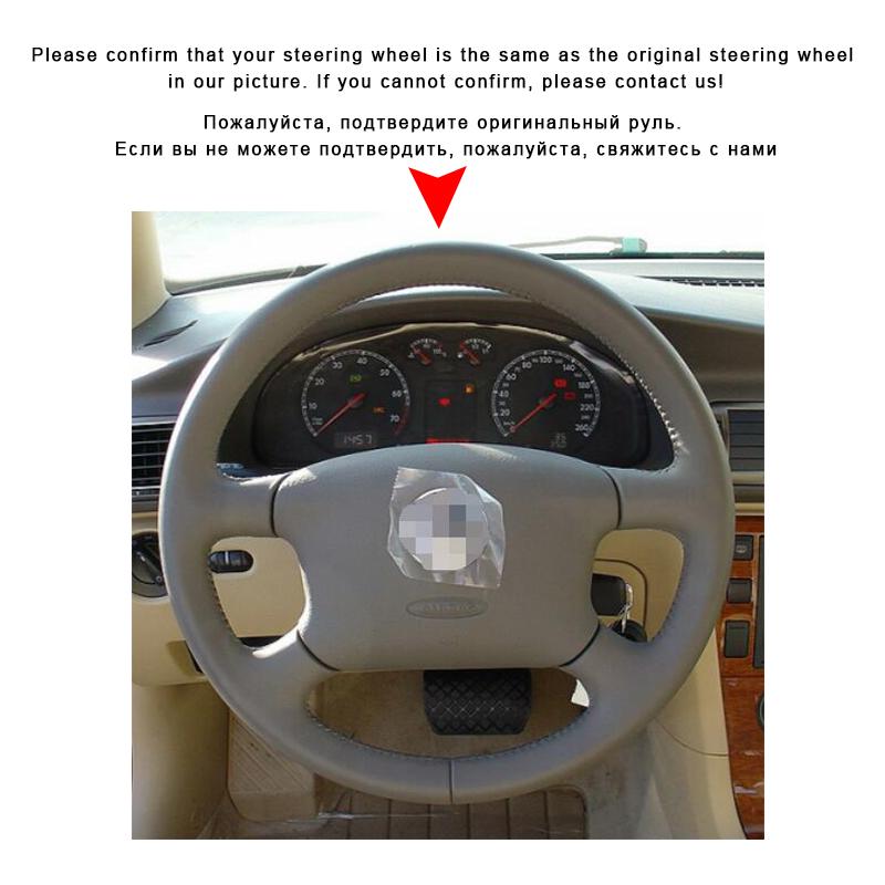 Auto trenza en la cubierta del volante para Volkswagen VW Passat B5 1996-2005 Golf 4 1998-2004 Seat Alhambra coche cubre Interior