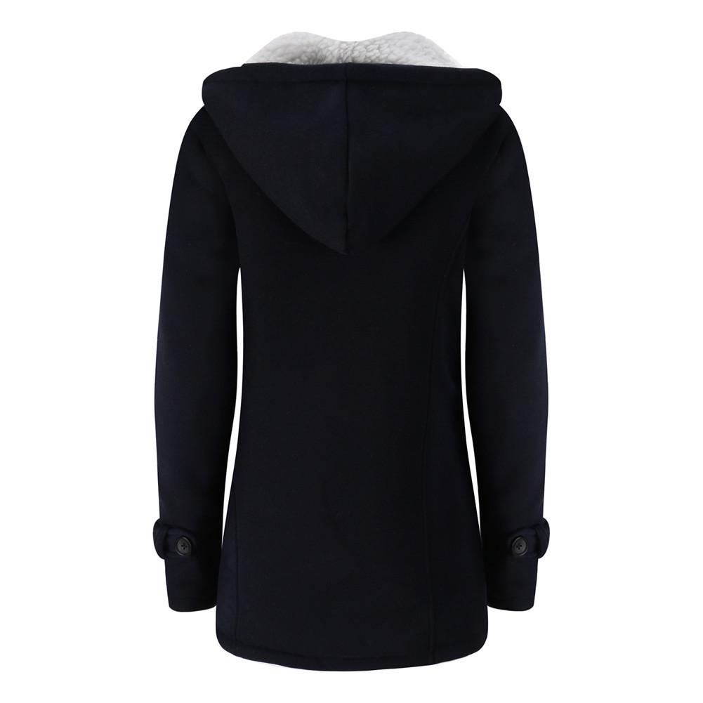 Jacket Coat Winter Women Hooded Wool Blend Praka Classic Horn Leather Buckle Coat Slim For Ladies Winter Jacket Woman Parka