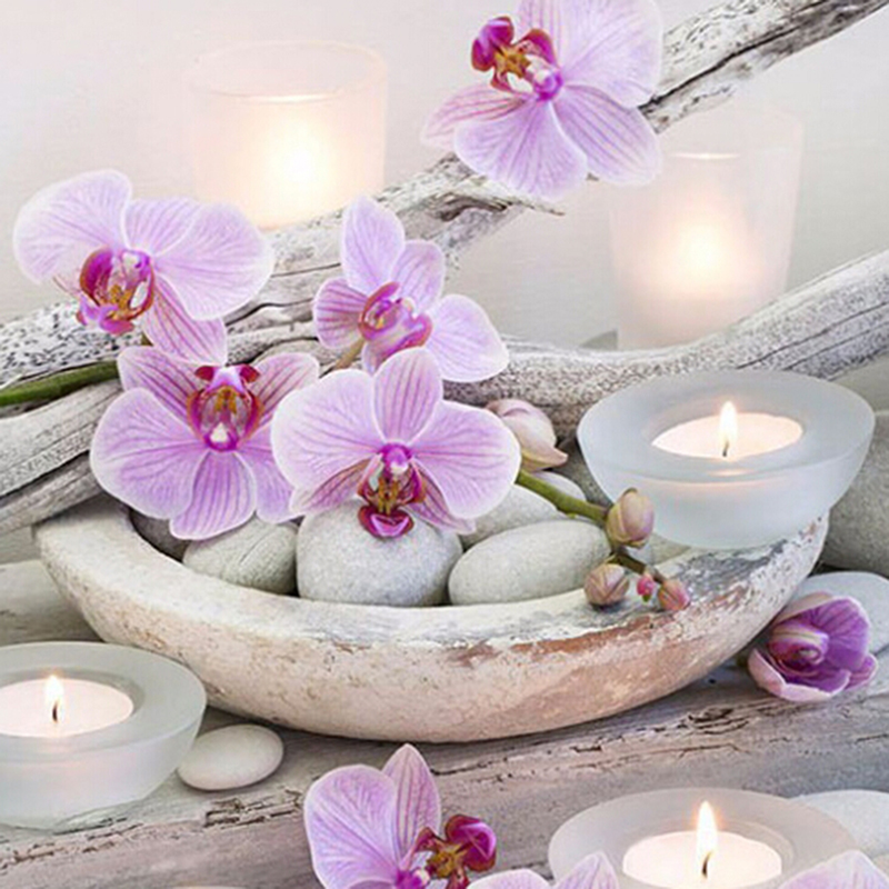 Full Drill Candle Moth Orchid Painting Embroidery Cross Stitch Room Decor CB