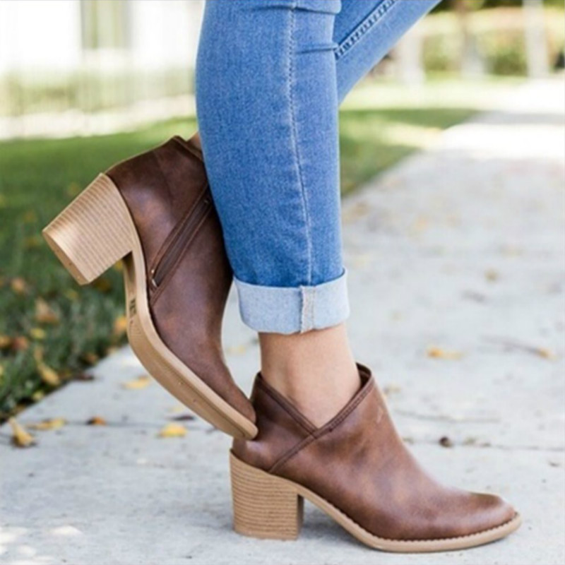 2019 Chic Autumn Women Shoes Retro High Heel Ankle Boots Female Block Mid Heels Casual Botas Mujer Booties Feminina Plus Size899