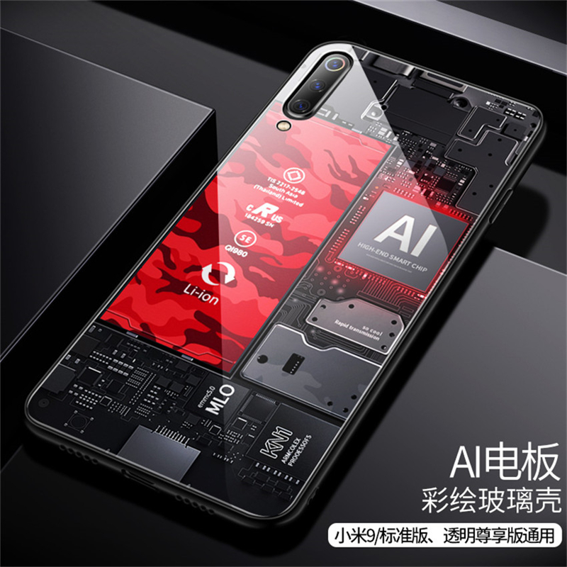 Aixuan Glass Case For Xiaomi mi 9 Mi9 Explorer Xiaomi mi 9 SE Case painted Tempered Glass Silicon Protective full Cover Cases (13)