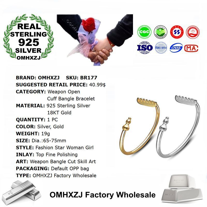 OMHXZJ Wholesale Personality Fashion Woman Girl Party Gift Weapon Open 925 Sterling Silver 18KT Gold Cuff Bangle Bracelet BR177