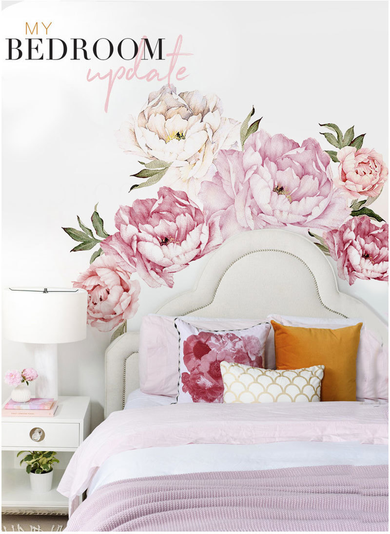 Pink Modern Home Living Room Decor Wall Art Peony Flowers Wall Sticker Mural Diy Art Bedroom Decoration Wedding Accessories T190710 Room Wall Stickers