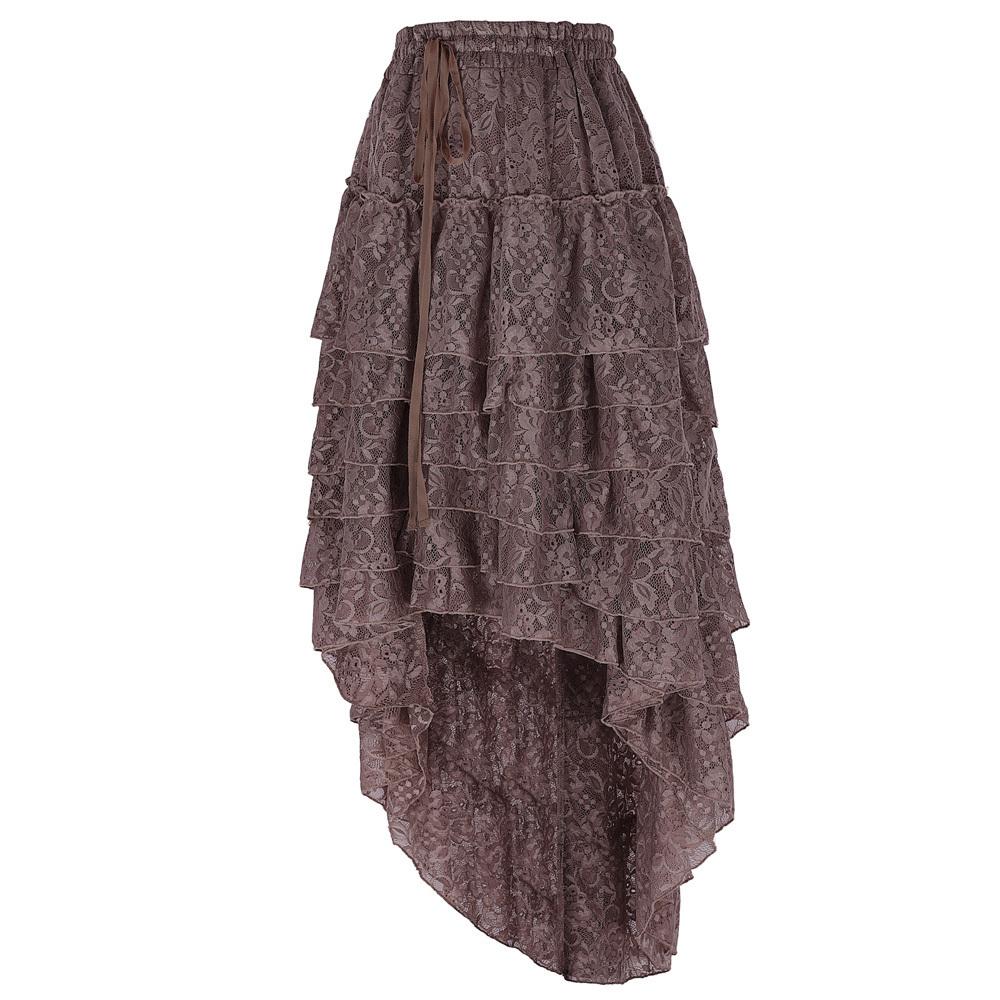 Bp Women Ladies Vintage Gonne Amelia Gothic Punk Rock High Low Skirt Etnica Steampunk Coulisse Vita arruffata torta gonna di pizzo C19041601