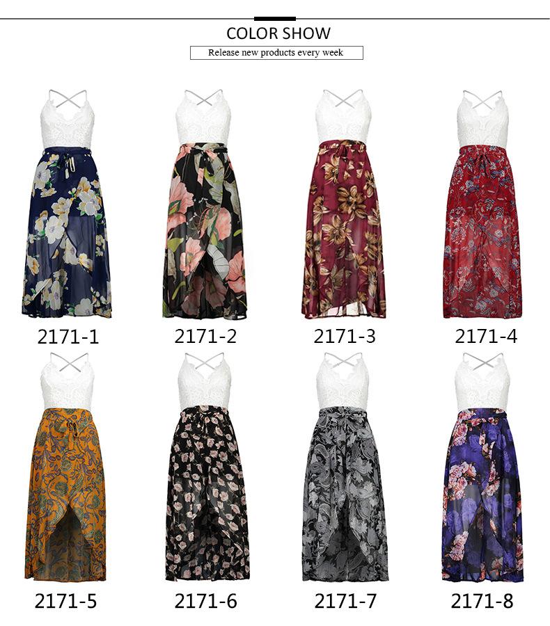 2009 Lasy Lace Costura Impressão Suspender V-neck Holiday Praia Vestido Mulheres Open-bifurcada Vestido De Chiffon