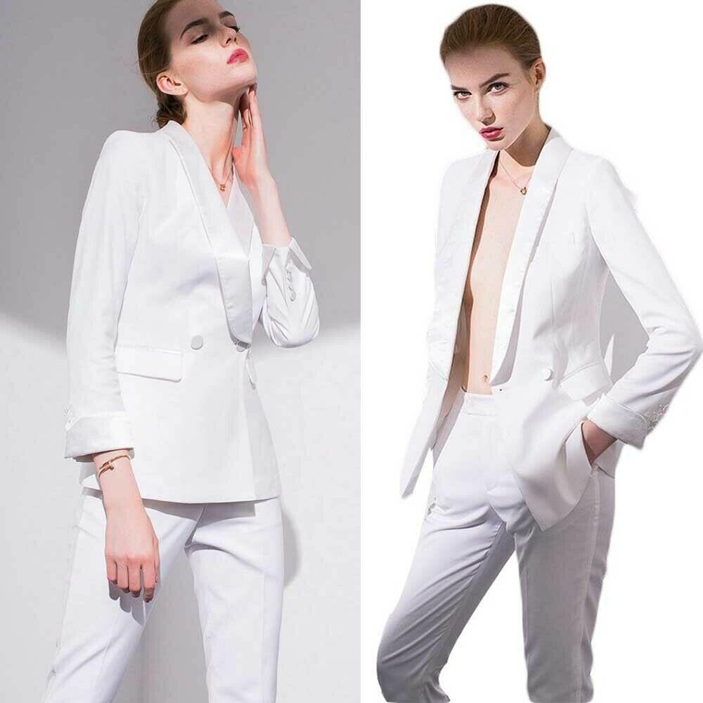 summer white frauen-mutter der braut-klagen slim fit arbeit uniform tragen  damen formale partei-abendgarderobe für hochzeit (jacket pants)