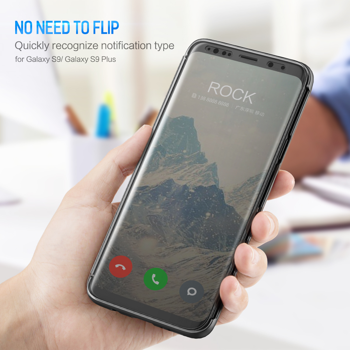 wholesale DR.V Series Flip Case for Samsung Galaxy S9 Plus Slim Cover Brand Phone Cases Luxury Smart Flip Case Invisible Window