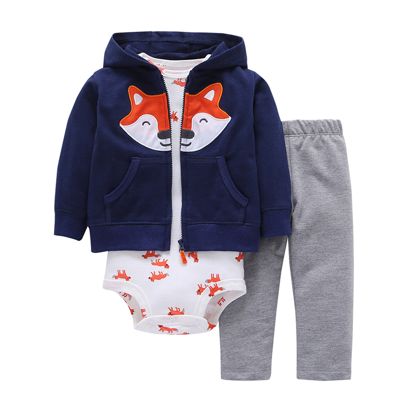 2019 autumn baby boy clothes,toddler boy outfit,6-24M,long sleeve cotton hooded coat+fox rompers+gray pants,NEWBORN SET WINTER