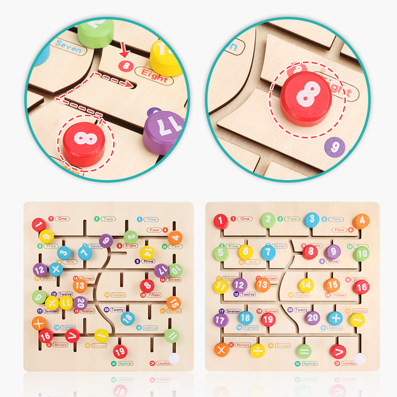 Enfants Jouets Montessori Jouets En Bois Maze Slide Puzzle Jigsaw Board Alphabet Numérique Correspondant Jouets Éducatifs Précoces Pour Enfants