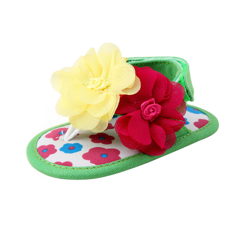 Summer Baby Shoes Girls Newborn Toddler Baby Girls Flower Sandals Soft Sole Anti-slip Shoes Kids Girl Flower Sandal M8Y17 (6)