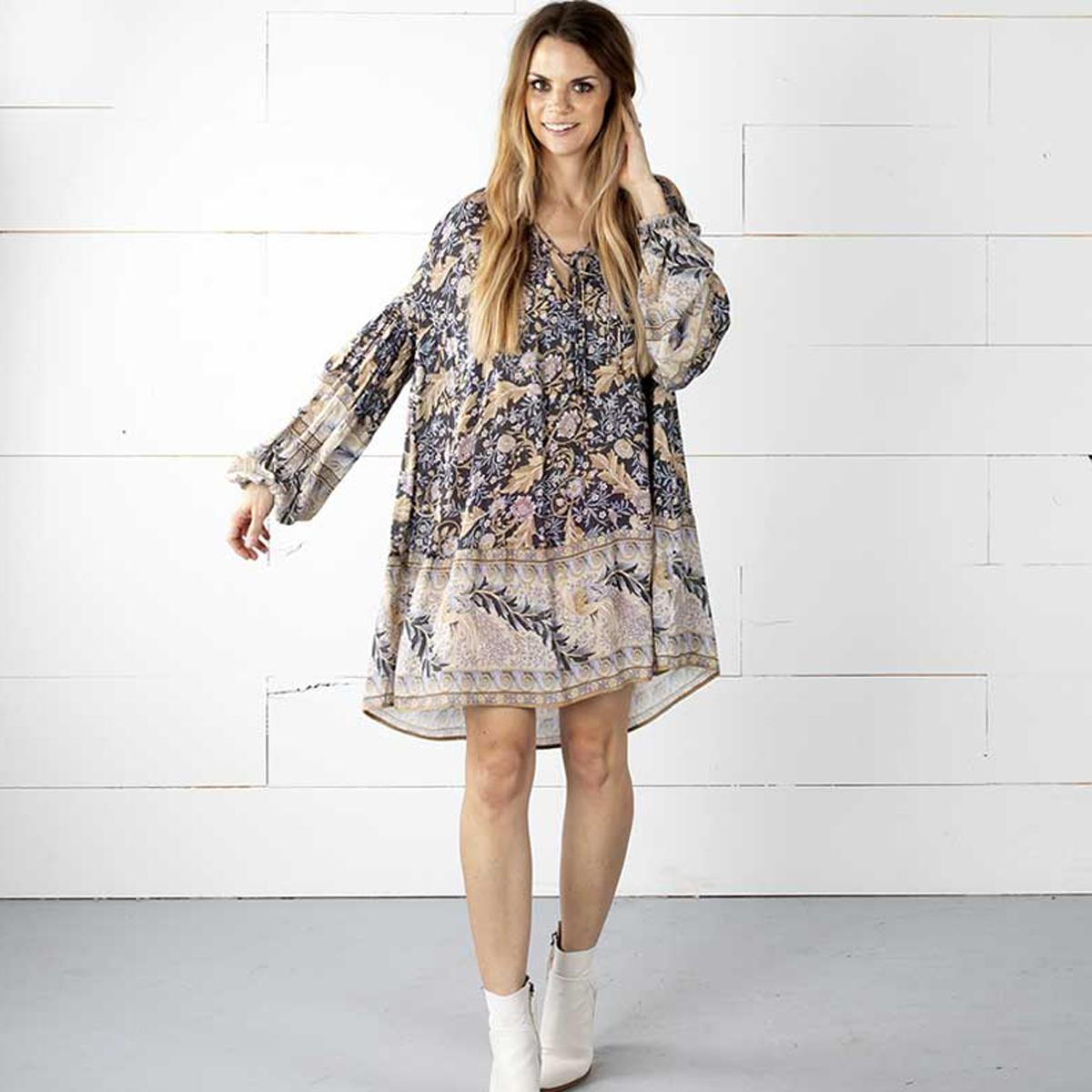 f4838844cfae wholesale Boho Oasis Long Sleeve Mini Dress V-Neck with Tie Hippie Chic  Women Dresses