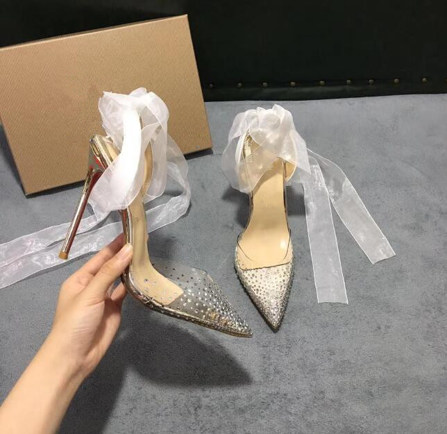 hot sale high quality Women high heel transparent belt drill dress shoes, ladies fashion sexy party sandals wedding shoes