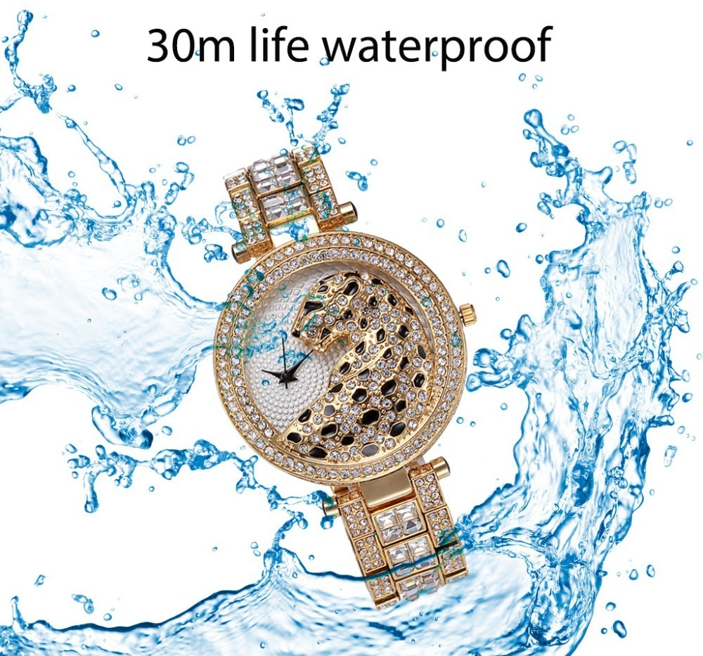 MISSFOX 30m Life Waterproof Gold Women Quartz Watch Fashion Bling Casual Ladies Watches Crystal Diamond Leopard for Women Clock (11)