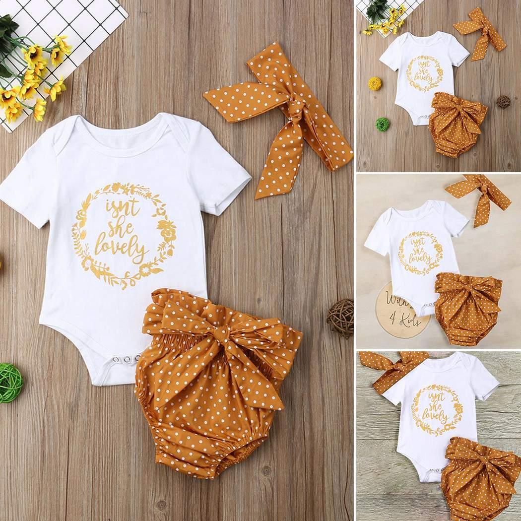 Модные новые малышки для девочек с круглым вырезом в горошек с короткими рукавами и ползунками.