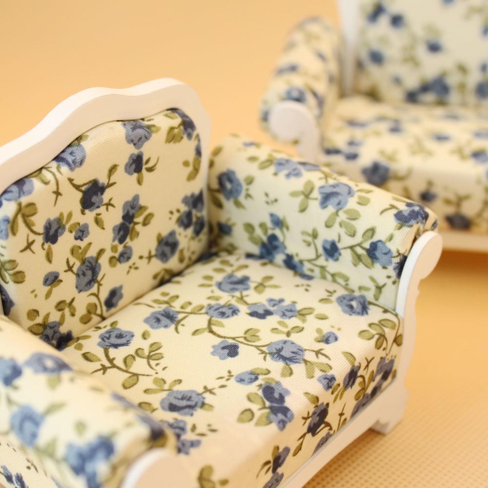 wholesale Mini Wooden Cloth Sofa Set Furniture Toys for 1:12 Doll House Random Color