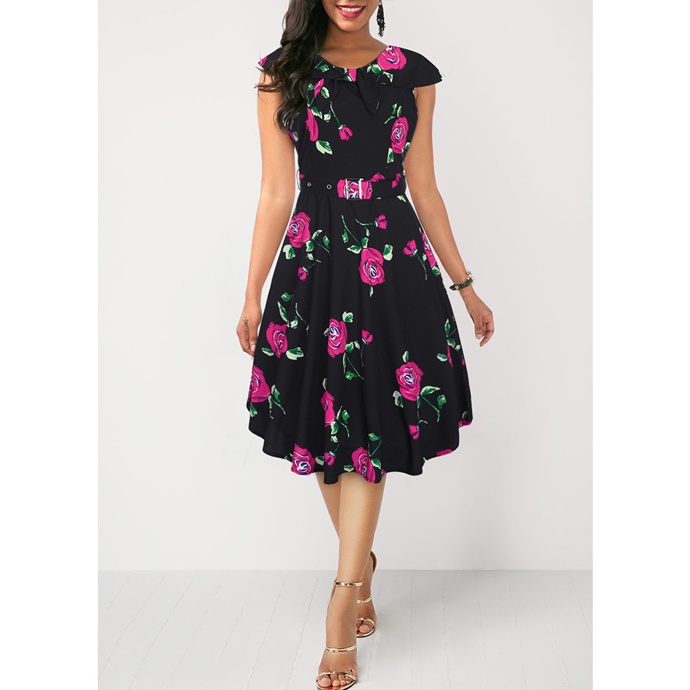 Fairy2019 Cross Pattern New European Suit-dress Sleeveless Hertz Basis A A-line Skirt Restore Ancient Ways The 50s Navy Lead Printing Dress