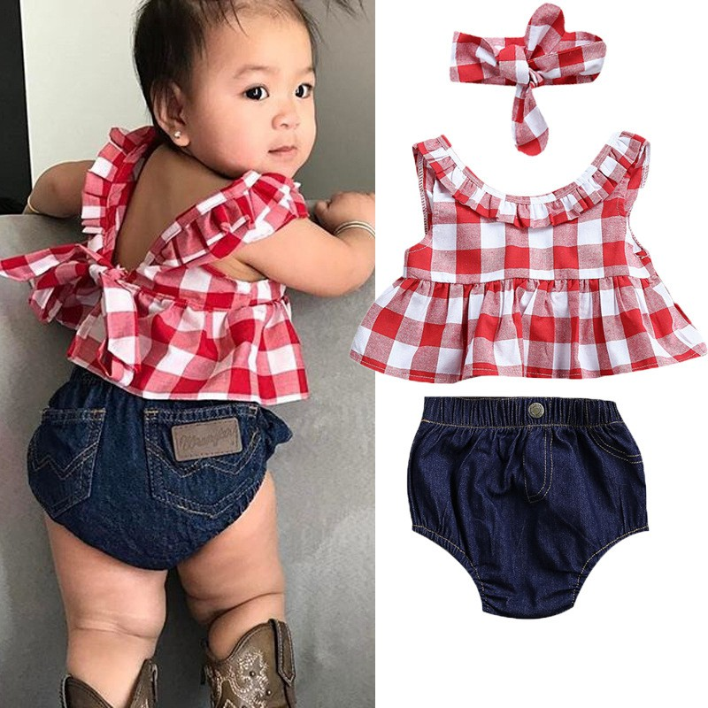 Efaster Toddler Baby Girl Sleeveless Plaid Tops+Denim Shorts+Headband Set