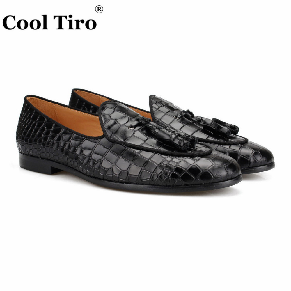 black CROCODILE LOAFERS WITH TASSELS (2)