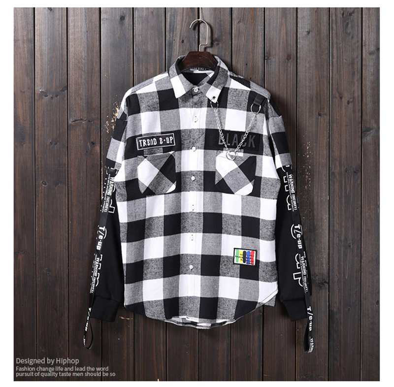 Red And Black Plaid Patchwork Shirt Men (16)