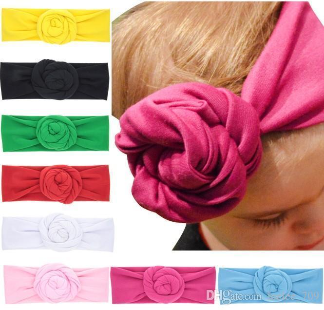 New Baby Rose Coton Mélange Bandelettes Hiver Chaud Turban Filles Cravate Noeud Bandeau Bandeau Bebe Cadeau De Noël Meilleur Prix