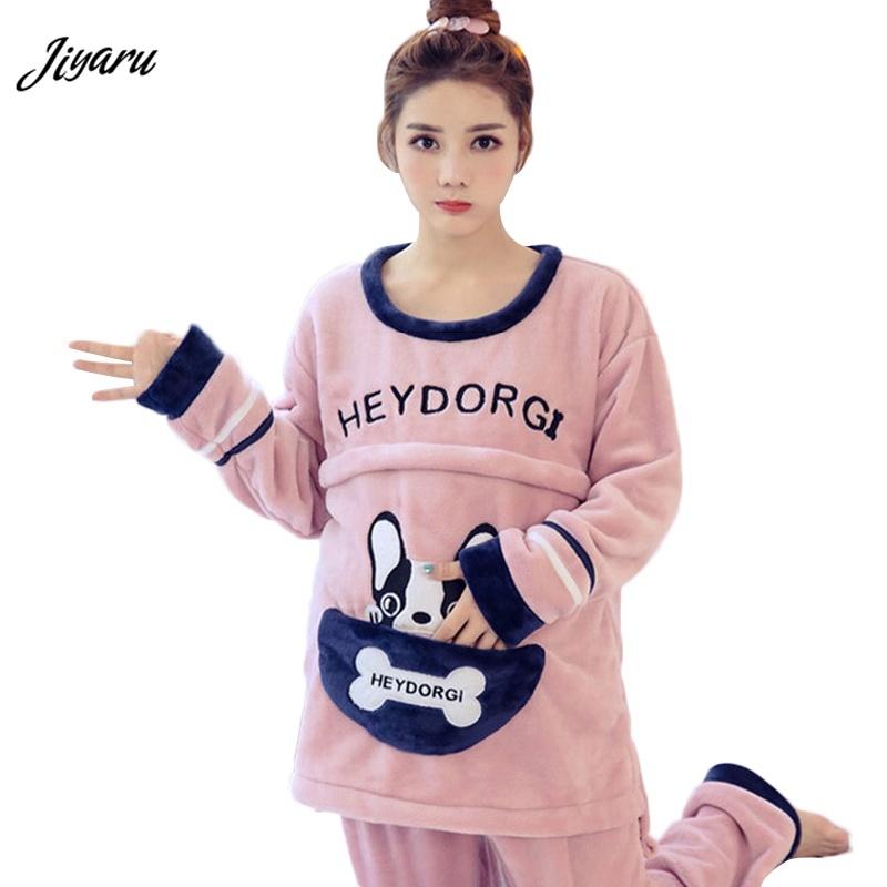 KM Girl Thicken Coral Velvet Pullover Pajamas Set Bow Panda