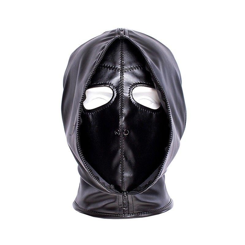 PU-Leather Lockable Headgear Head Restraint Mask Zipper Hood Slave Harness Fun