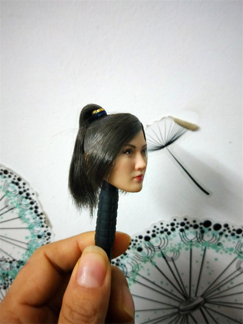 1/6 Asian Famous Star Head Sculpt Jingtian Linmei Black Hair Models Toys for 12''Action Figures Bodies