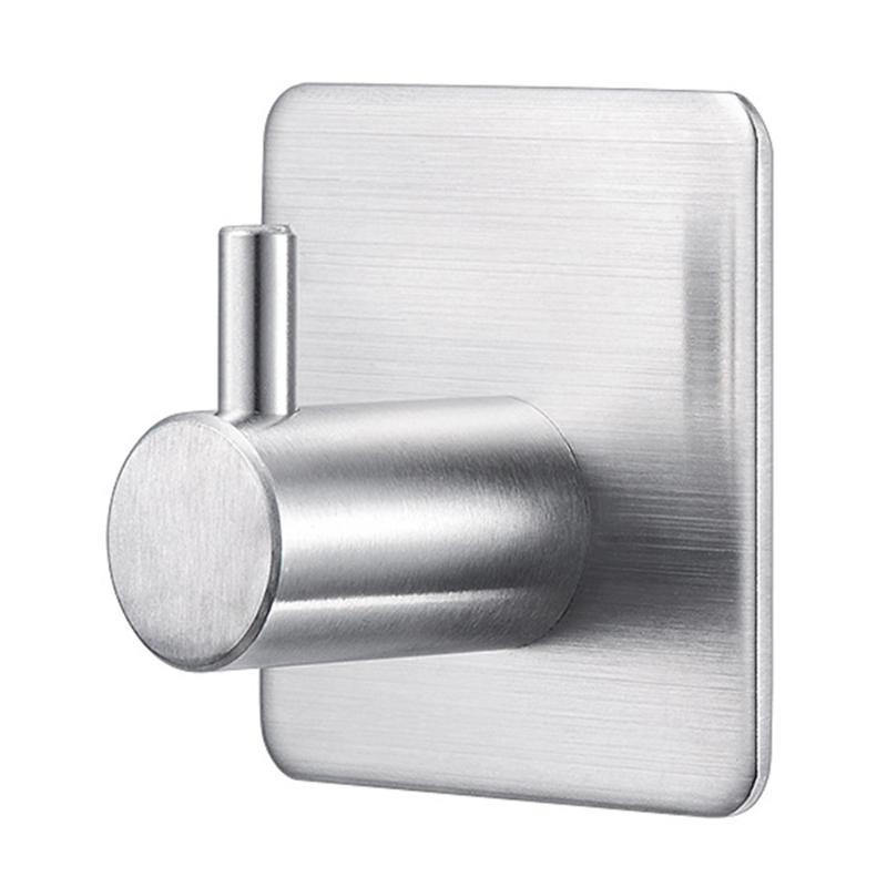 Brushed 304 Stainless Steel Bag Heavy Duty Wall Hanger Bathroom Bedroom Kitchen Anti Skid Hook S1-5pack Coat Hat Stocking Robe Waterproof Sticky Rack Hanging Towel Self Adhesive Hooks