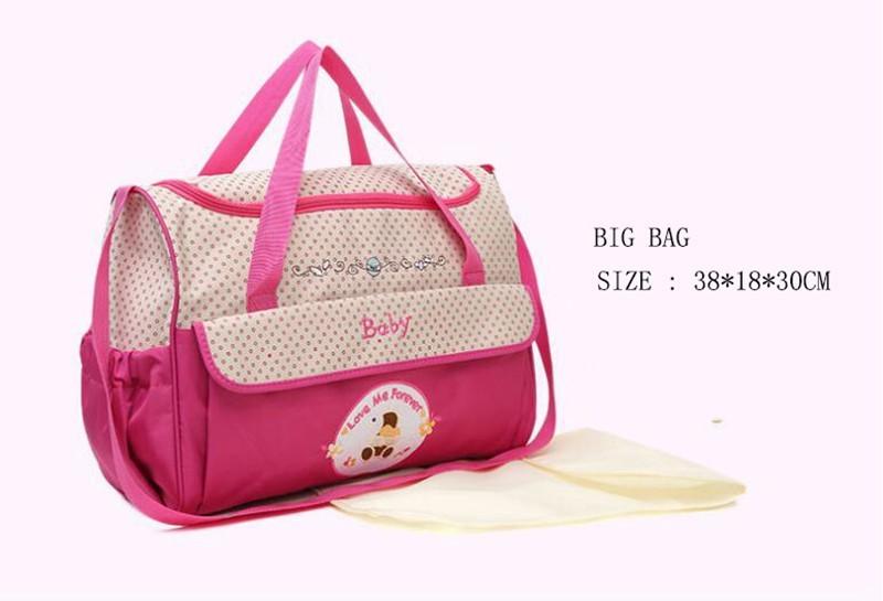 CROAL CHERIE 381830cm5pcs Baby Diaper Bag Sets changing Nappy Bag For Mom Multifunction Stroller Tote Bag Organizer (9)
