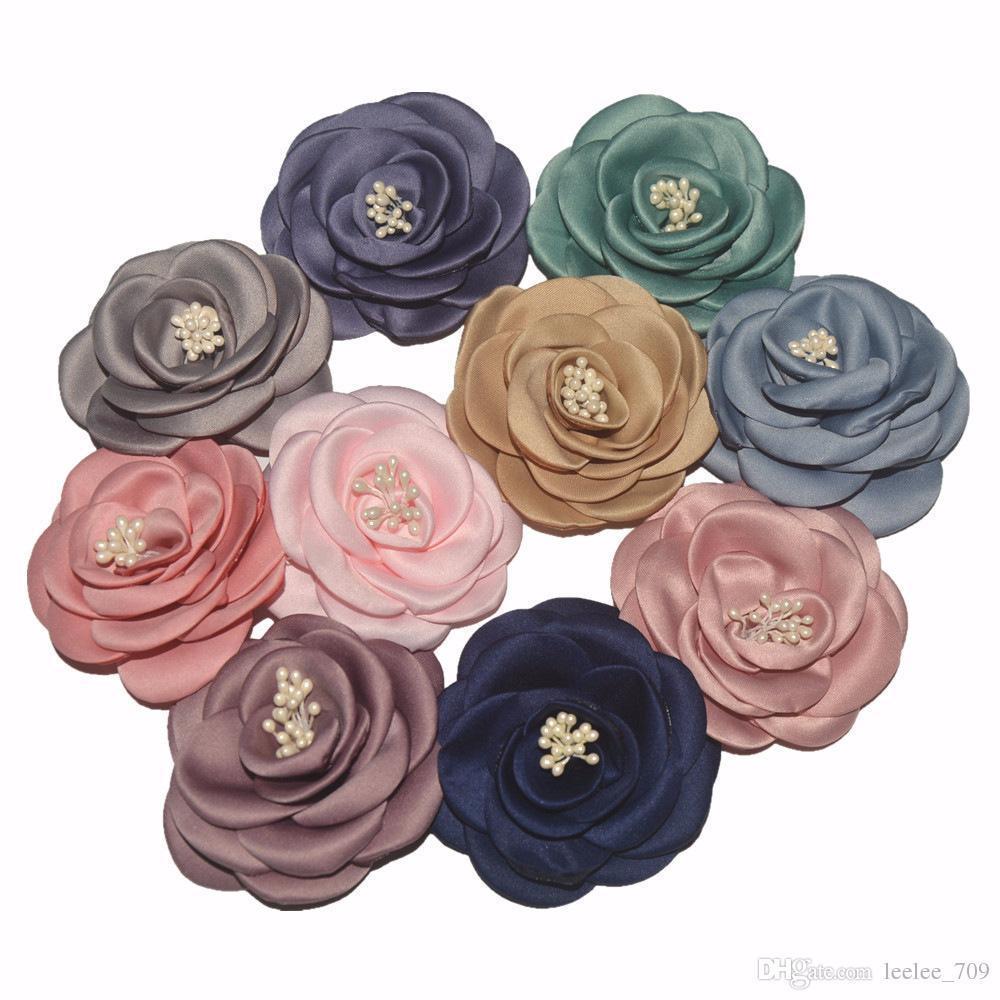 Baby Girls 3 Inch7.5 Cm Chiffon Fabric Flowers For Diy Headbands Diy Corsage Kid Diy Hair Styling Accessories Headwear