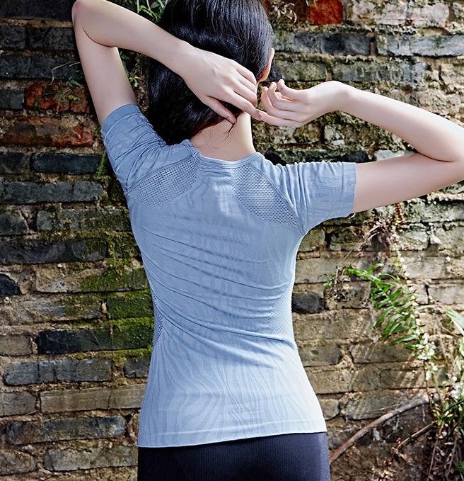 Kadın leopar baskı hareket kısa kollu vücut geliştirme yoga run kişisel dikişsiz yuvarlak boyun ceket havalandırma