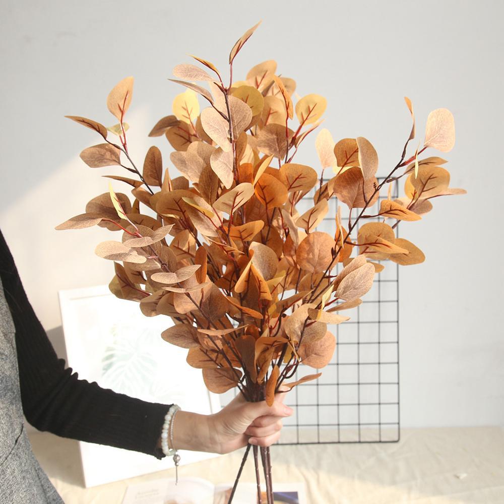 Feuille D Eucalyptus Bouquet nouvelle branche d'arbre d'eucalyptus ronde feuilles artificielles feuille  argent décoration plante rétro eucalyptus feuillage faux faux fleurs ds #
