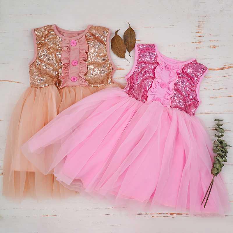 Mädchen Kleid Pailletten Tüll Tutu Mädchen Kleid Pailletten Herz Schleife Glitz