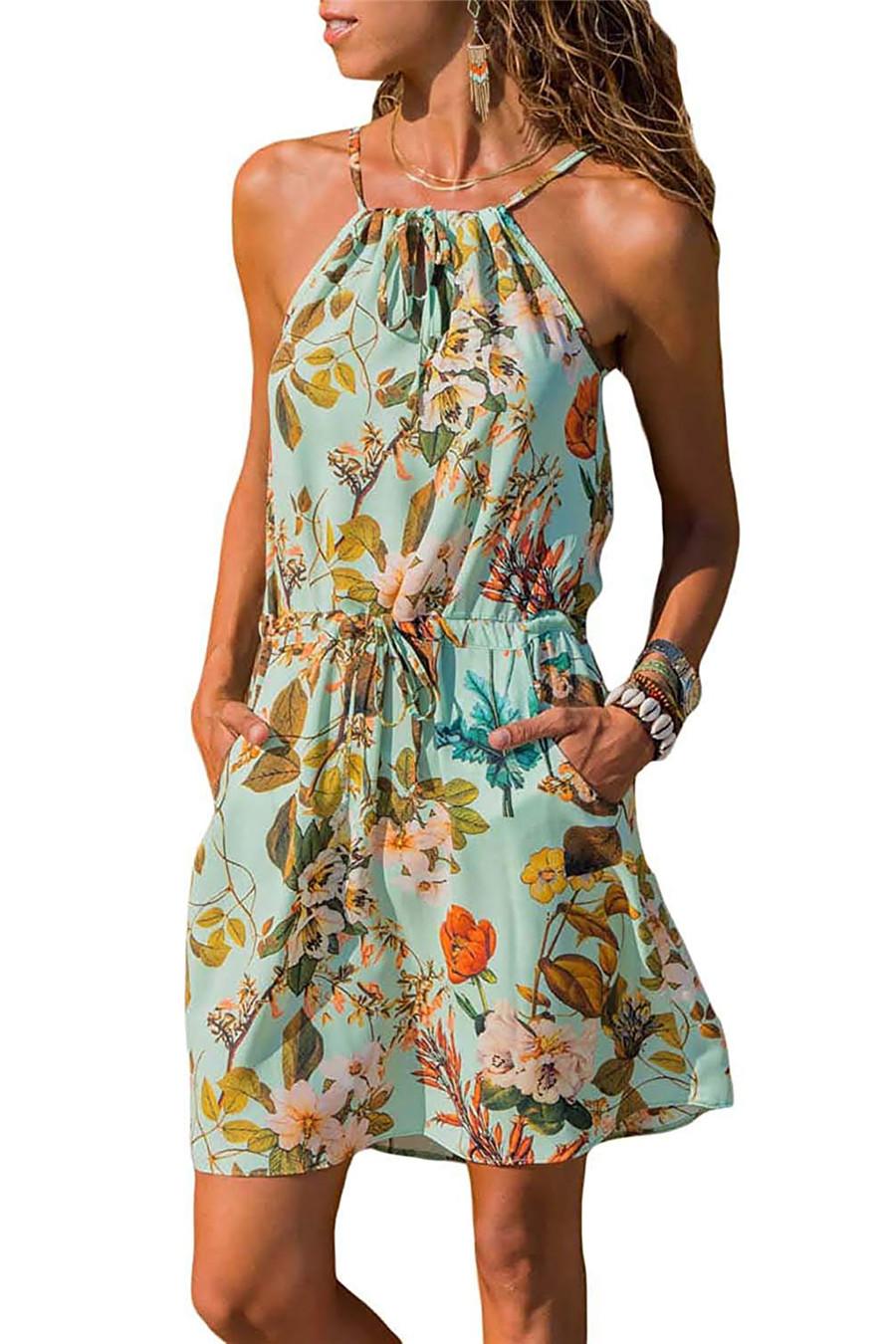 Gladiolus Chiffon Women Summer Dress Spaghetti Strap Floral Print Pocket Sexy Bohemian Beach Dress 2019 Short Ladies Dresses (39)