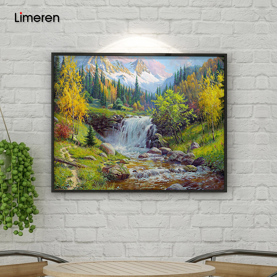 Flusslandschaft DIY Digital Painting by Numbers Kits handgemalte Öl-Malerei