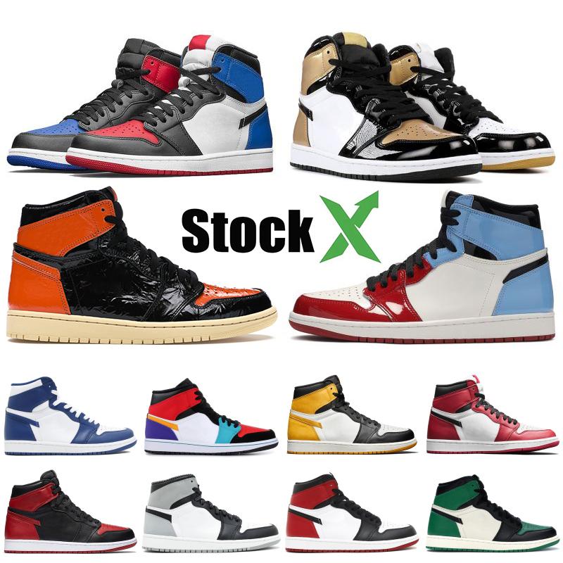 Jordan retro 1 High OG Travis Scotts Jumpman hommes chaussures de basket ball Toe Black Shadow Top taille d'entraîneur baskets design gris blanc froid