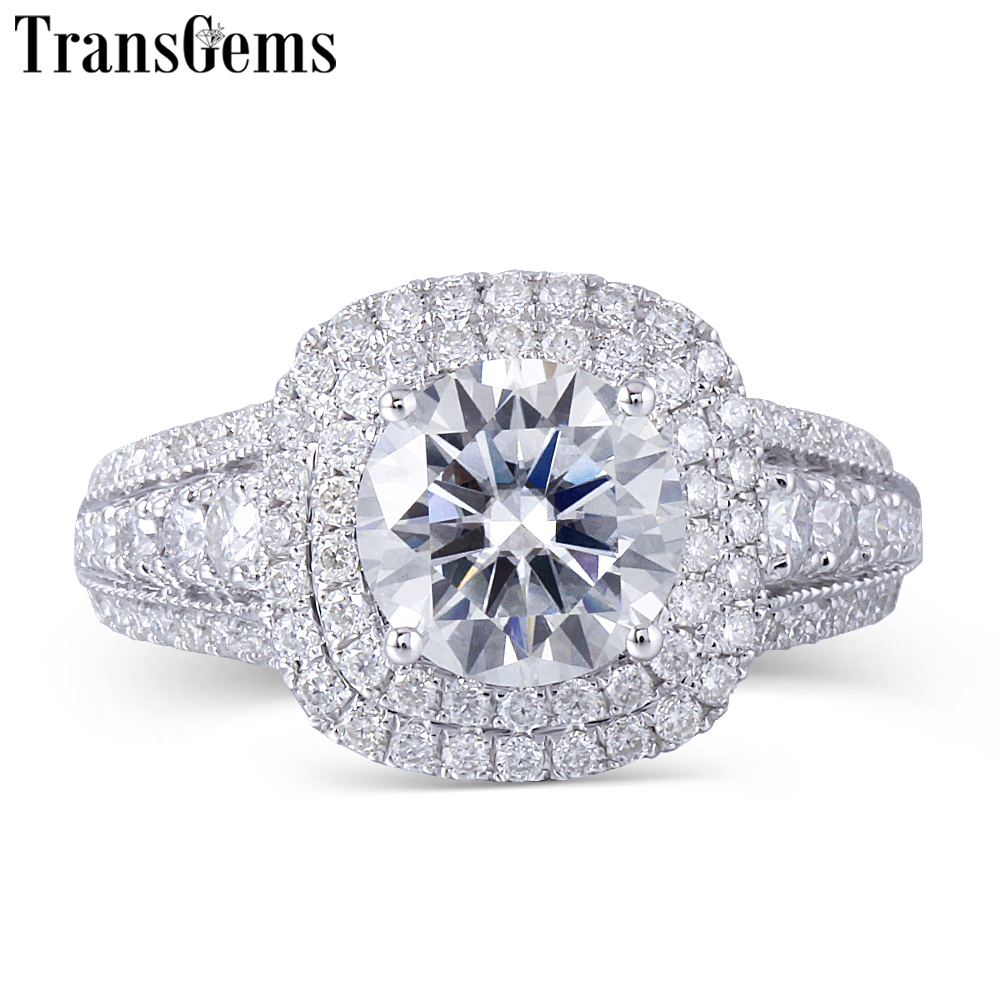 moissanite double halo engagement ring (1