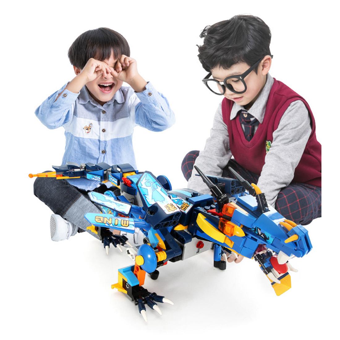 433 pz / set assemblaggio fai da te 2.4g 4 canali telecomando dinosauro veicolo demone war dragon truck motore elettrico giocattolo i bambini