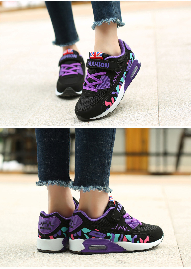 2019 Children Casual Shoes For Girls Running Comfortable Elastic Air Cushion Shoes Fashion Kids Sneakers Breathable Sport Shoes (12)