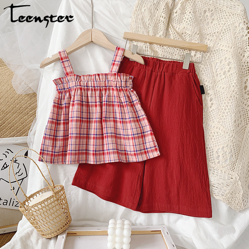Toddler Little Girls Ruffle Strap Tank Tops+Geometric Wide Leg Pants Outfit Summer Clothes Two Piece Set