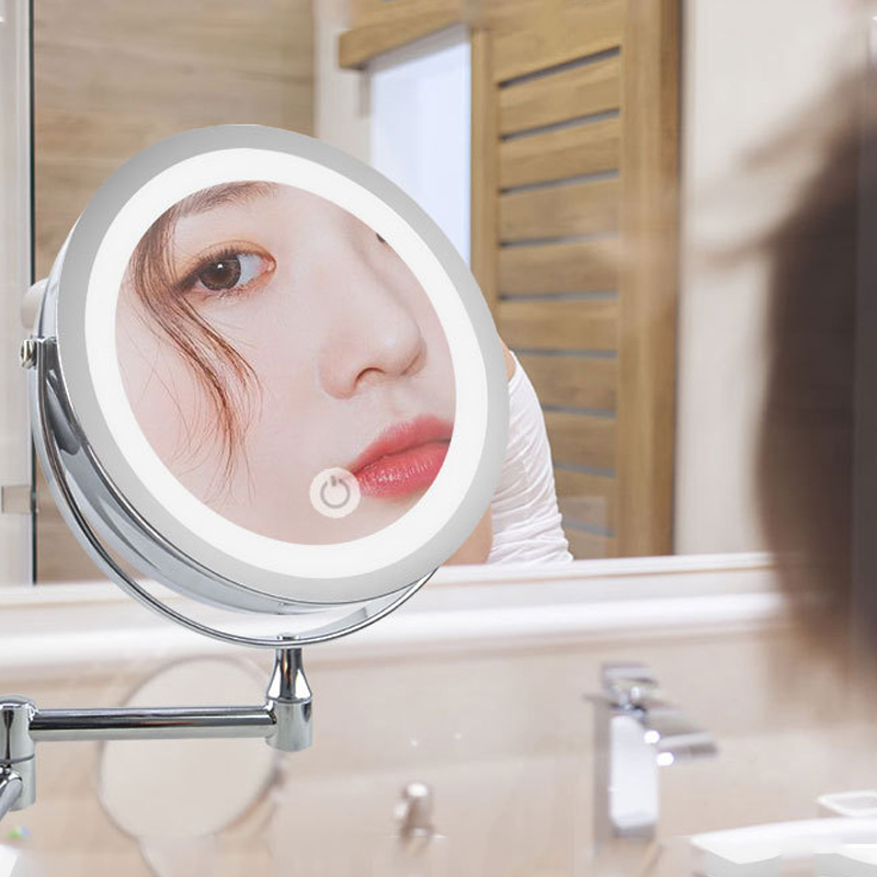 8 inch Wall Mounted Led Makeup Mirror 10X Magnifying Touch Bright Adjustable Bathroom Wall Mirrors Double Sided Vanity Mirror 4