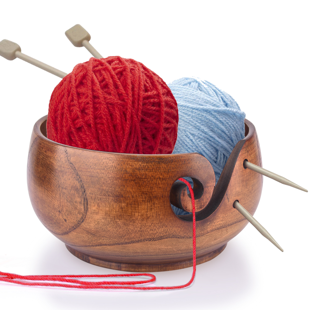 Yarn Bowl Holder Wood Yarn Bowl Storage NonSlip Crochet Organizer Smooth Swirl Wool Sekin Knitting Project Needlework Accessory (1)