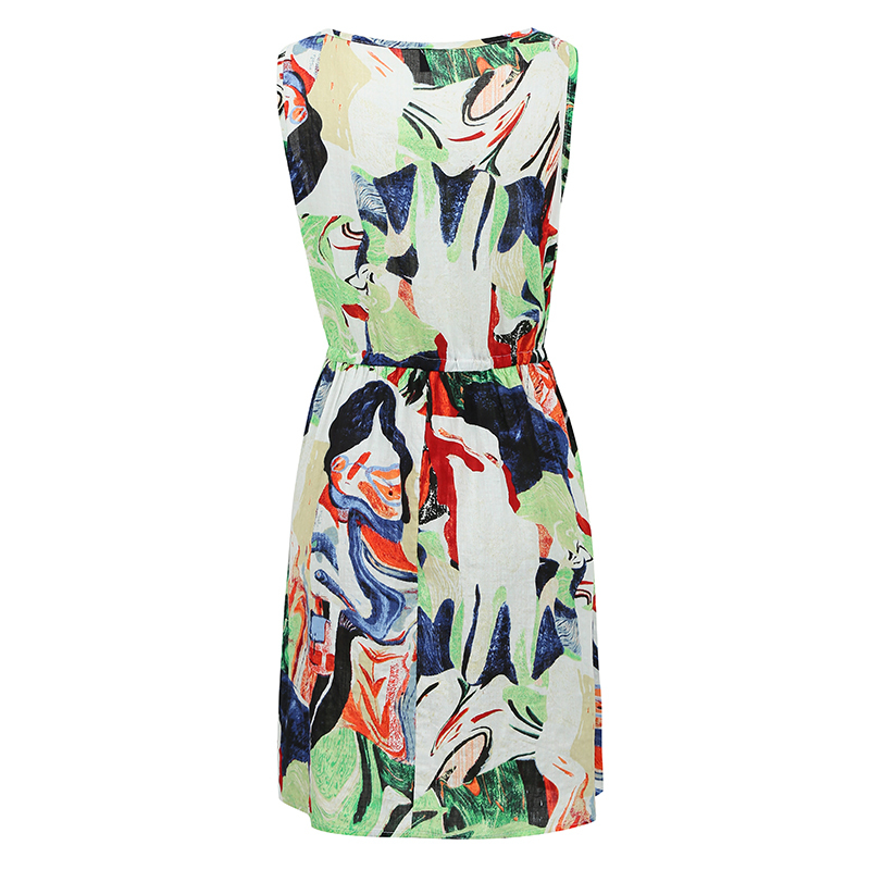 5XL Plus Size Dress Fashion Loose Graffiti Print Midi Dress O Neck Drawstring Waist Sleeveless Pocket Casual Summer Dress 2018